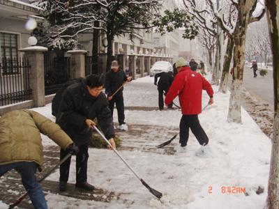 机关党员干部扫雪义务劳动图片